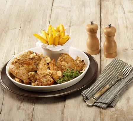 Κοτόπουλο λεμονάτο με φέτα και ρίγανη