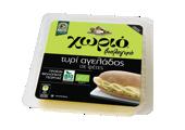 Χωριό βιολογικό τυρί αγελάδος σε φέτες