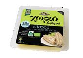Χωριό ελαφρύ βιολογικό τυρί αγελάδος σε φέτες