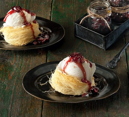 Kantaifi with ice cream and sweet & sour cherries