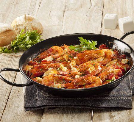 Saganaki with shrimp and Horio feta cheese