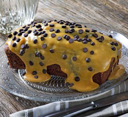 Moist chocolate cake with caramel sauce (dulce de leche)