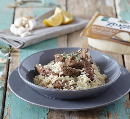 Beef casserole with rice, lemon and Horio Graviera cheese