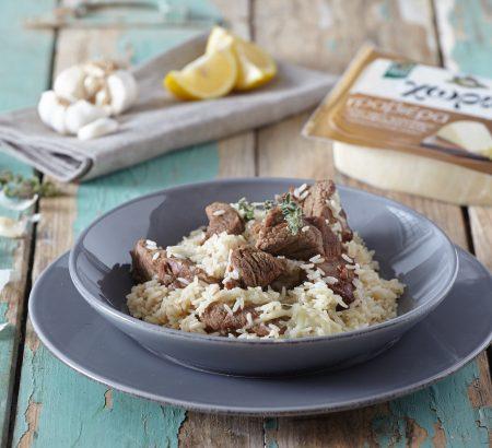 Μοσχάρι λεμονάτο με ρύζι και Χωριό γραβιέρα