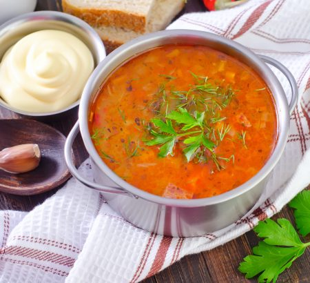 Pumpkin soup with rice and raisins