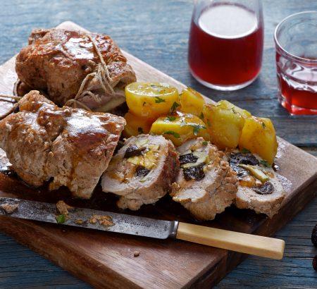 Juicy pork roll with prunes and juniper berries