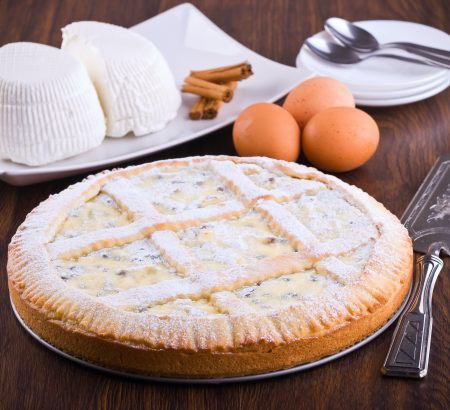 Sweet pie with anthotyro cheese, honey and butter