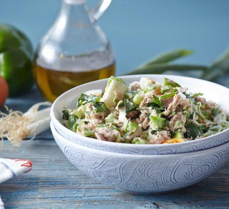 Tuna salad with eggs and mayonnaise