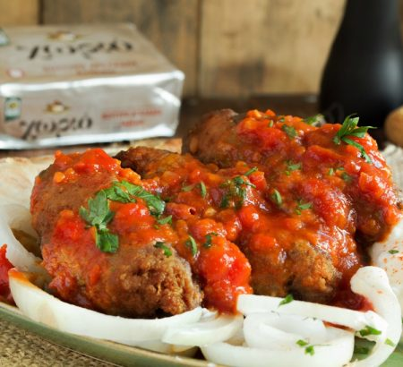 Stewed Meatballs with Spices (Soutzoukakia)