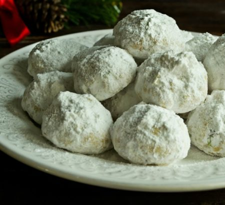Traditional Greek Christmas Cookies (Kourabiedes) with Pistachios & Loukoumi