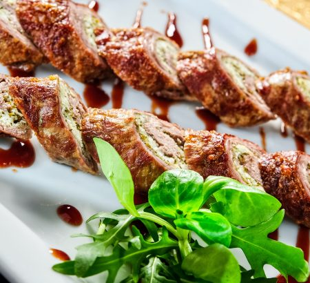 Beef Paillard with grated cheese and puree
