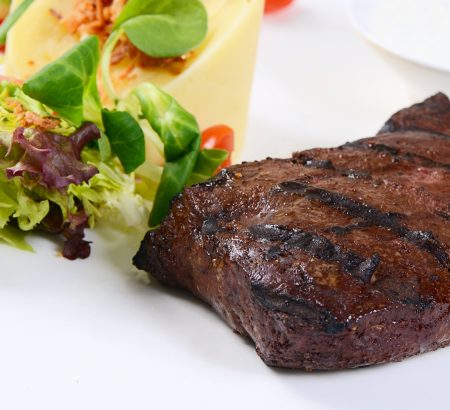 Roasted liver with eggplant puree