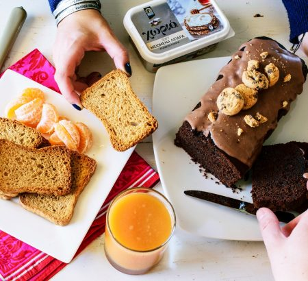 Κέικ μόκα με κακάο και καφέ