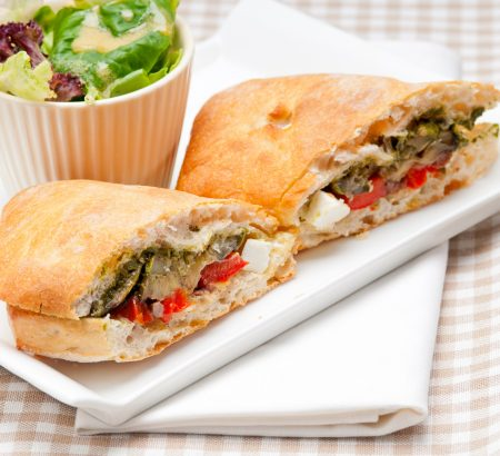 Vegetable sandwich with feta and basil sauce