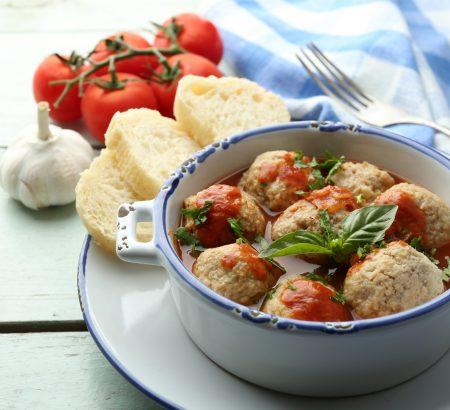 Cheese balls with Horio graviera in tomato sauce