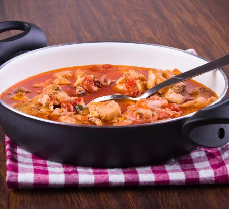 Fish stew with shrimp and vegetables