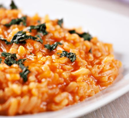 Creamy risotto with tomato and basil
