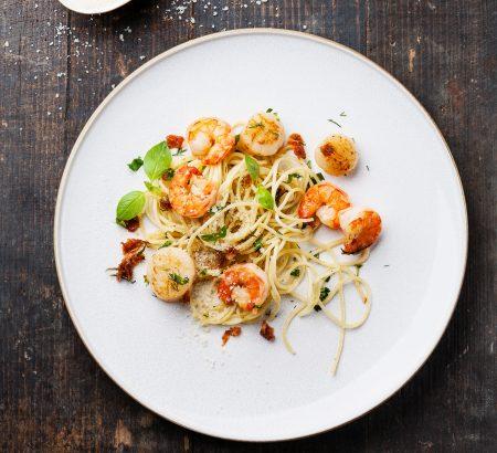 Lemony shrimp spaghetti