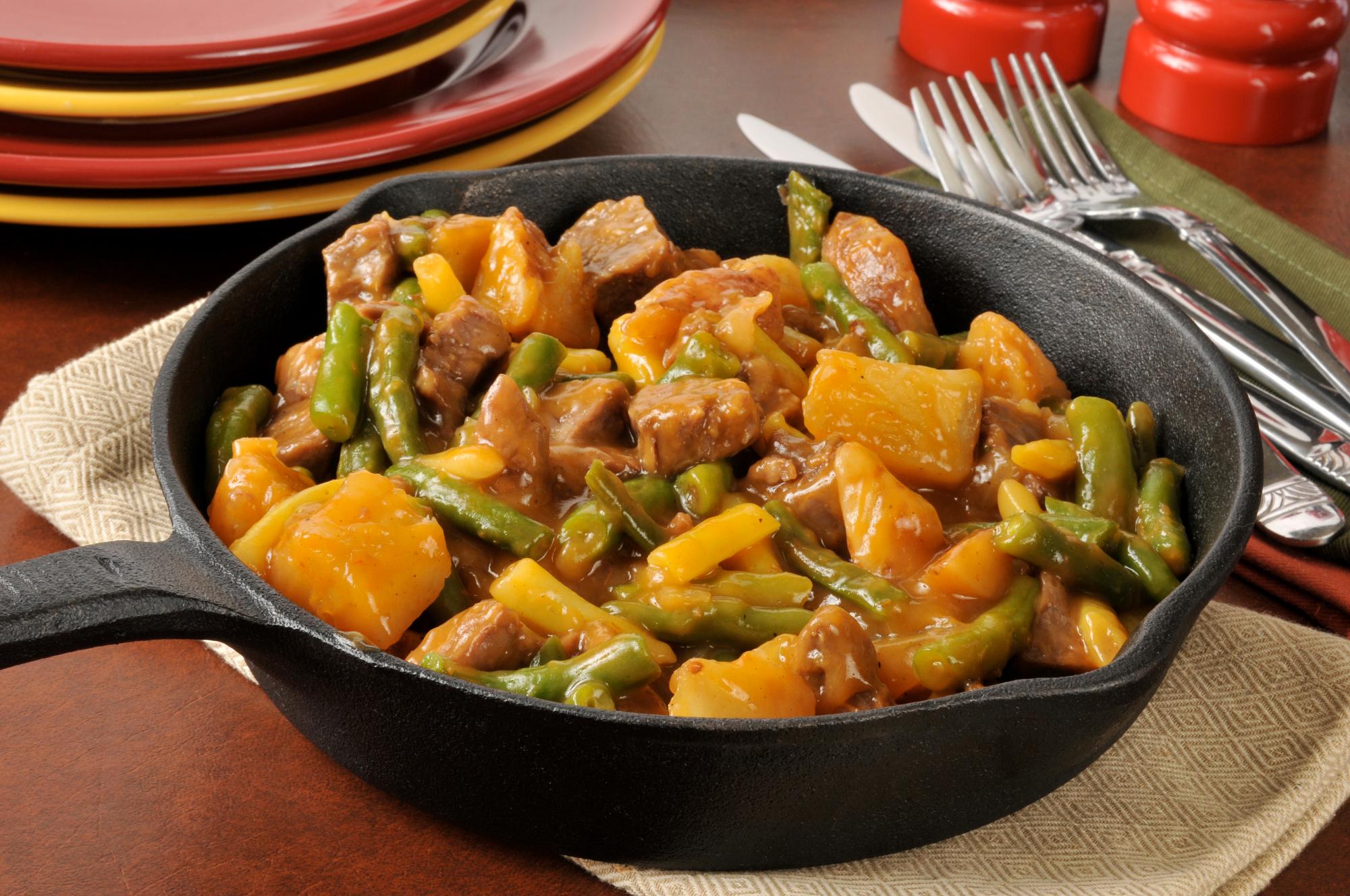 Тушёная картошка с мясом и овощами рецепт