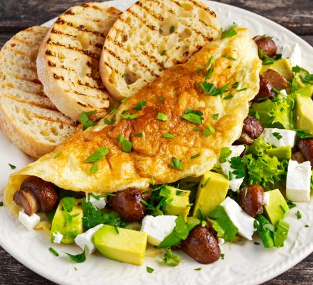 Avocado, Horio feta cheese and mushrooms omelet