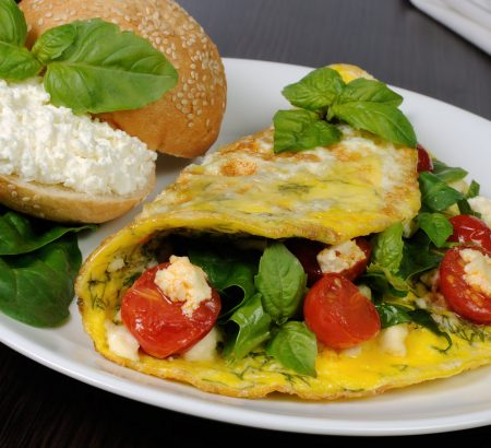 Spinach, Horio feta cheese and tomato omelet