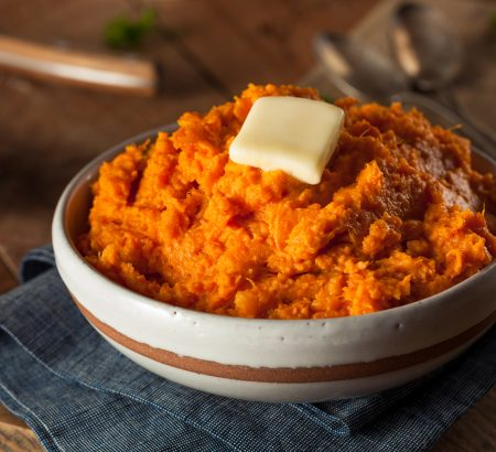 Mashed sweet potato with leek and Horio butter