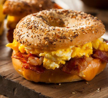 Egg, bacon and cheddar sandwich